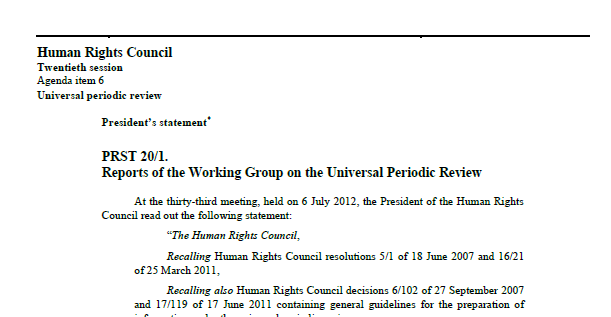 Exemple of Human Rights Council Presidential Statements
