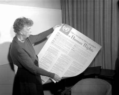 Universal Declaration of Human Rights. Mrs. Eleanor Roosevelt of the United States holding a Declaration of Human Rights poster in English. [November 1949] United Nations, Lake Success,New York
