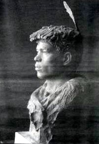 "Estebanico el Negro,"" bronze bust by John Houser completed in Azemmour, Morroco, Estebán's birthplace"