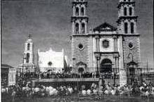 Misión de Nuestra Señora de Guadalupe sits next to the much larger Our Lady de Guadalupe Cathedral in Juárez.
