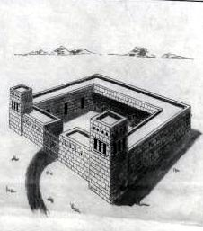 Artist's concept of a typical Spanish fort or presidio