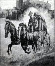 Stagecoach leaving town from a mural by Bill Rakocy, El Paso Museum of History.