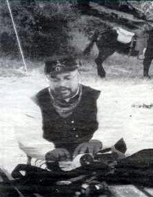 Ken Pollard in Buffalo Soldier uniform at the camp reenactment during fall 1996 at Hueco Tanks