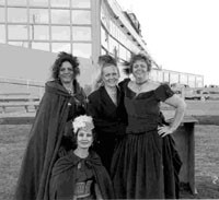 Members of Six Guns and Shady Ladies portraying El Paso prostitutes Etta Clark, Bessie Colvin, Chippy, Alice Abbott and
