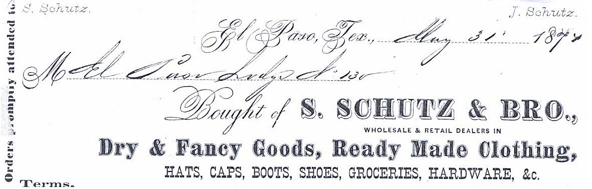 Receipt letter heads for S. & A. Schutz & Bro.