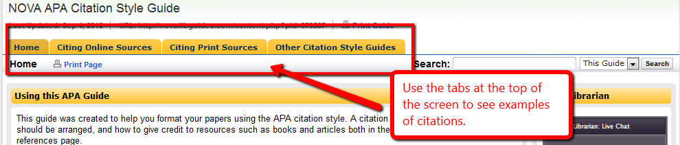 APA Citation Guide Tabs