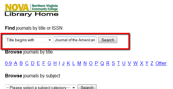 Image of Searching Journal by Title