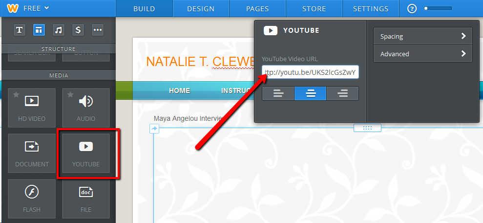 Weebly - Adding YouTube video