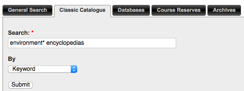 Keyword search in the catalogue searching environment* encyclopedias