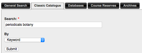 Keyword search in the catalogue searching periodicals botany