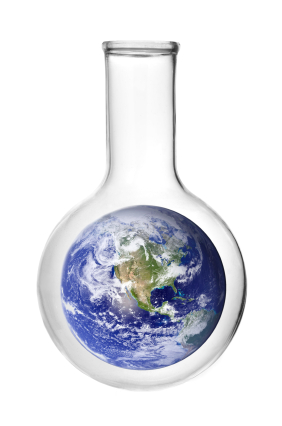 Planet Earth inside flask