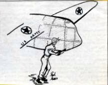 Drawing of worker and plane