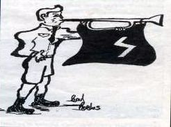 Drawing of Hitler Youth with flag and horn
