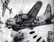 Drawing of B-17 in action