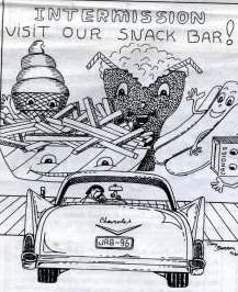 Drawing of car at a drive-in theater