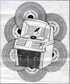 Drawing of jukebox and records