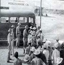 Loading undocumented immigrants onto an Army bus in Fort Hancock, Texas