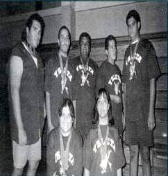 Ysleta High School Winter 1996 Special Olympics power lifting athletes.