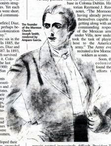 Drawing of Joseph Smith, found of Mormon Church
