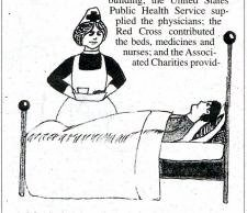Drawing of nurse caring for patient in bed