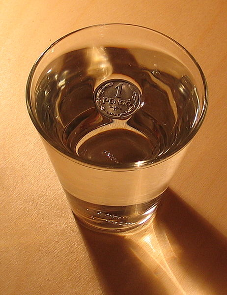 A coin floating on top of a glass of liquid