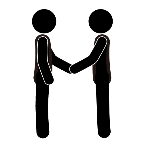 Black and white icons of people shaking hands