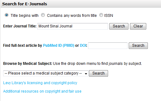 ejournals screenshot
