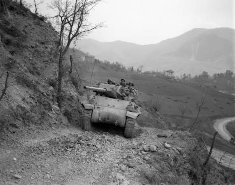 10th advancing North Appennines Spring 1945, Mt. Belvedere
