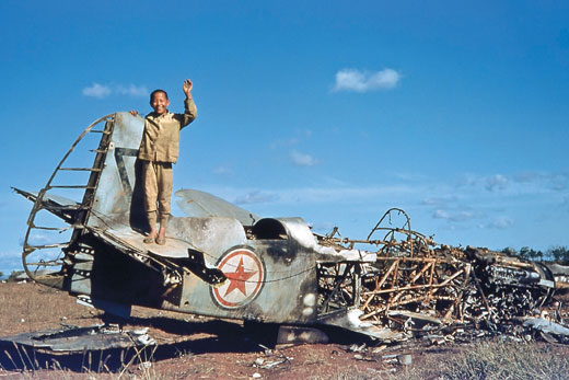 A Korean Boy on the Remains of a Russian Plane