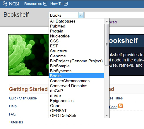PubMed bookshelf