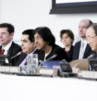 Navi Pillay, United Nations High Commissioner for Human Rights, speaks at the treaty body strengthening consultations for States party to international human rights treaties held by the Economic and Social Council (ECOSOC). On stage, from left to right are: Ivan Simonovic, Assistant Secretary-General in the Office of the High Commissioner for Human Rights; Nassir Abdulaziz Al-Nasser, President of the General Assembly; Ms. Pillay; and Secretary-General Ban Ki-moon. 02 April 2012. United Nations, New York.