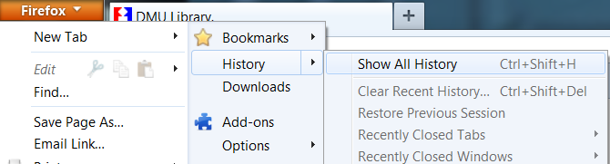 Clearing Firefox browser history