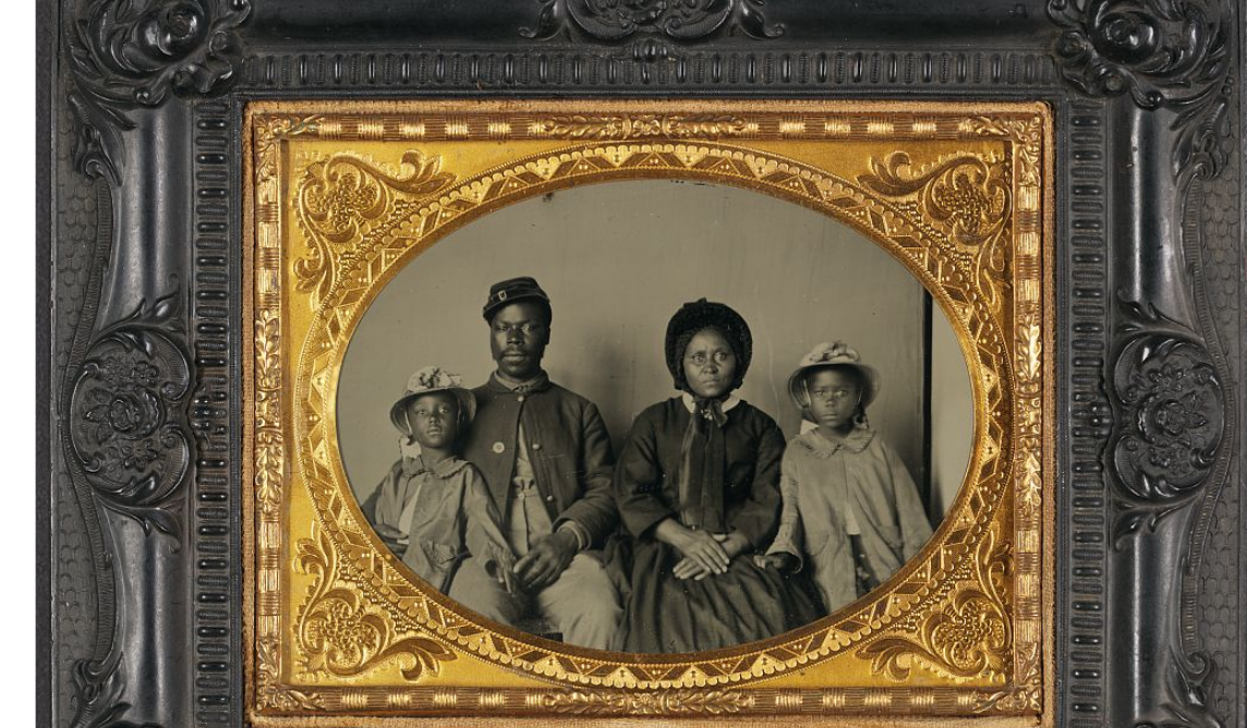 black union soldier with wife and children