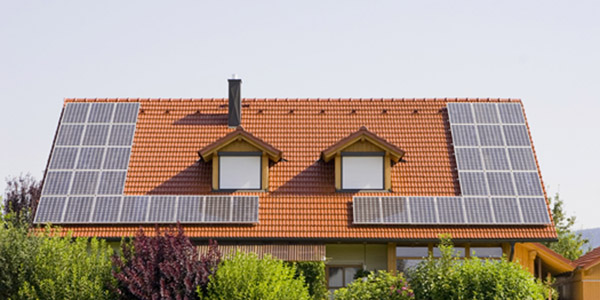 Stock photo of house with solar panels