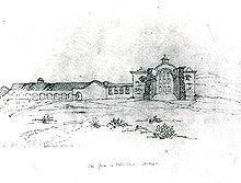 A pencil sketch of the San Juan Capistrano mission.