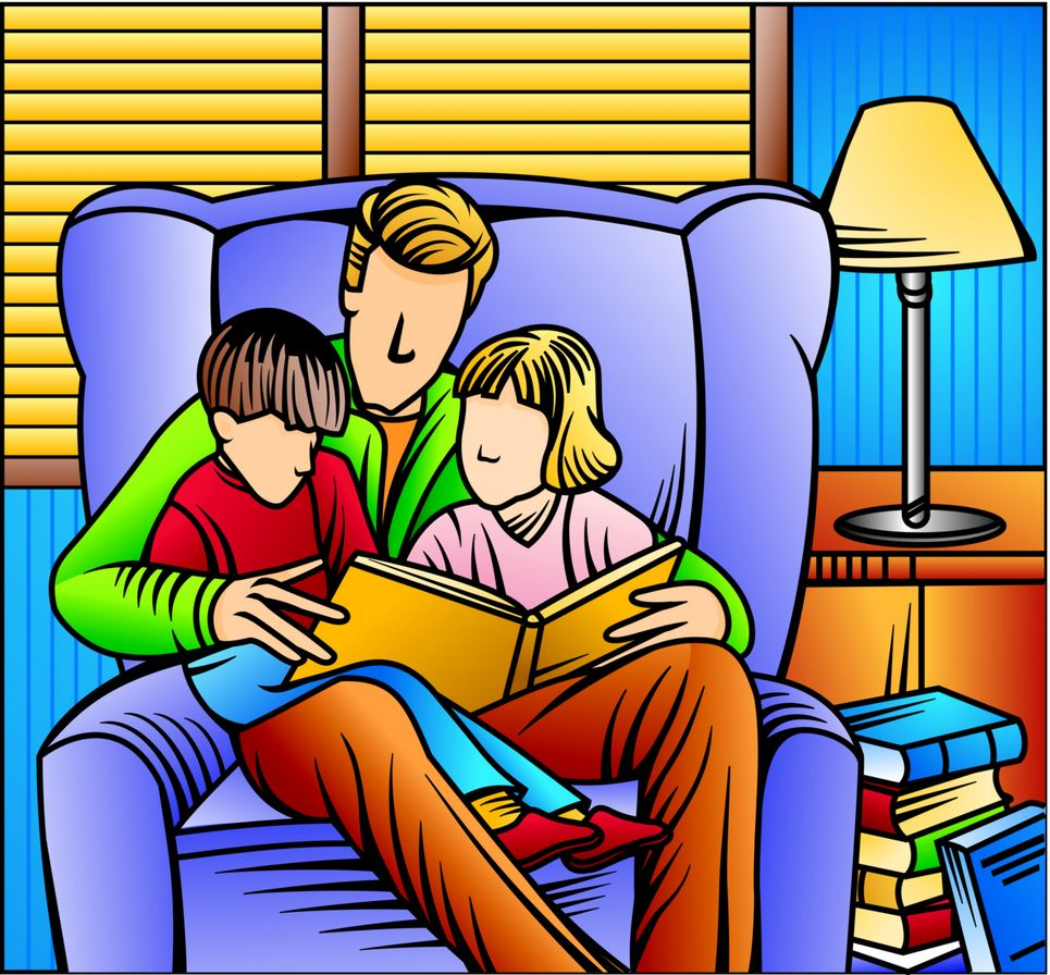 dad and two kids, curled up in a chair with a book,