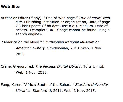 Web Sites Citation Style