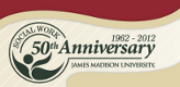 JMU Department of Social Work Logo, Celebrating 50 years.