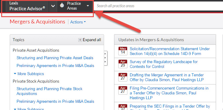 Screenshot of Lexis Practice Advisor webpage on Mergers & Acquisitions with Arrow pointing to Practice Areas