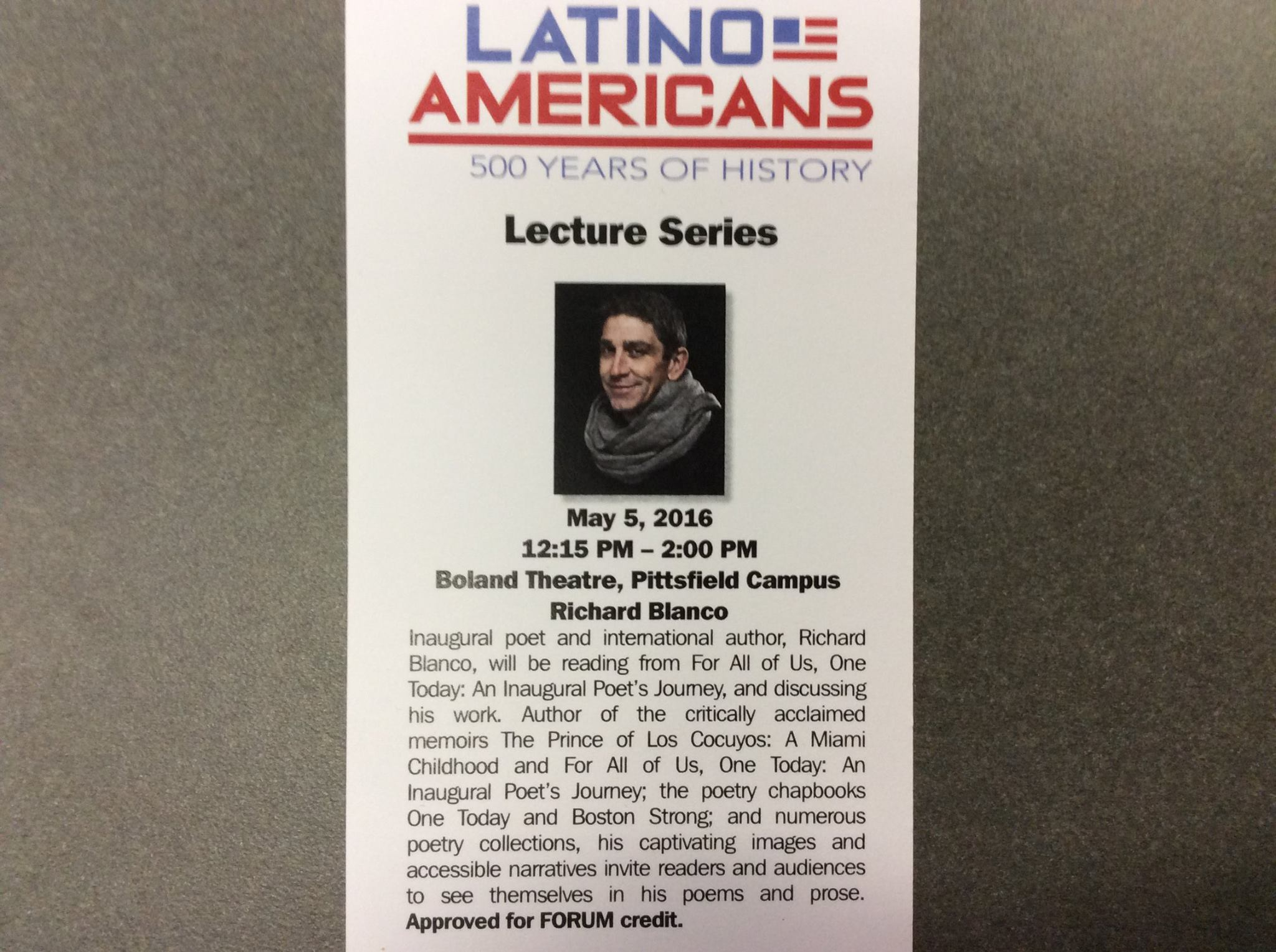 Richard Blanco Lecture, May 5, 2016