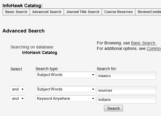 InfoHawk advanced search example