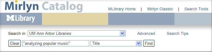 Mirlyn Title Search