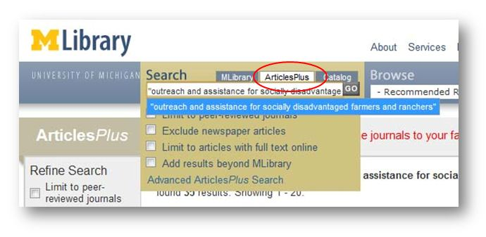 screenshot of articlesplus search tab