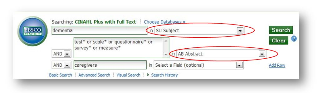 image of cinahl search: dementia in SU Subject and test* or scale* or questionnaire* or survey* or measure* in AB Abstract and caregivers in Select a Field (optional)