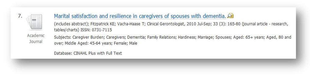 image of example article: Marital satisfaction and resilience in caregivers of spouses with dementia