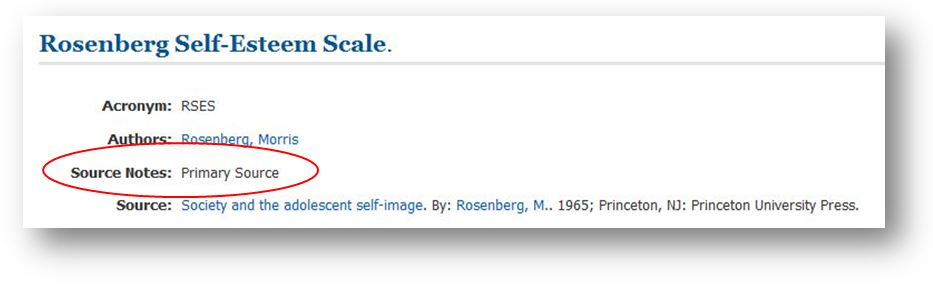 image - listing of rosenberg self-esteem scale with source notes: primary source highlighted.