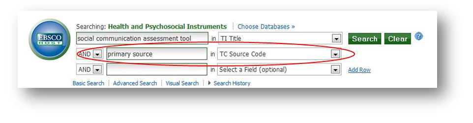 "image - HAPI search, ""social communication assessment tool"" in TI Title and ""primary source"" in TC Source Code"