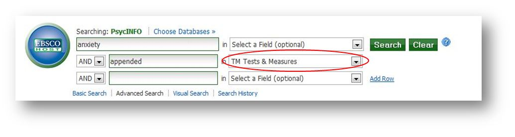 "image- ""anxiety"" in select a field (optional) and ""appended"" in TM Tests & Measures"