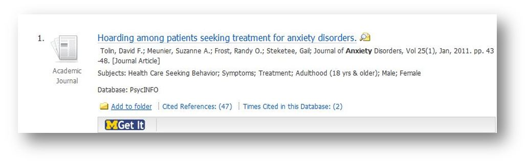 image of article: Hoarding among patients seeking treatment for anxiety disorders