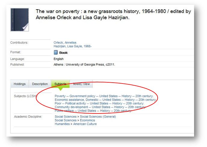"Mirlyn record for ""The war on poverty: a new grassroots history"" showing subject headings"
